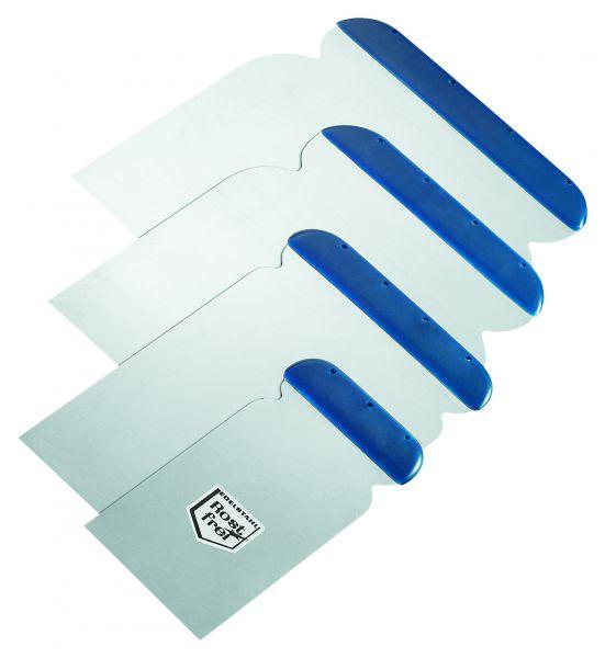 Storch Japanspachtel-Satz Edelstahl – Set aus 5, 8, 10, 12 cm – mit langen Blatt