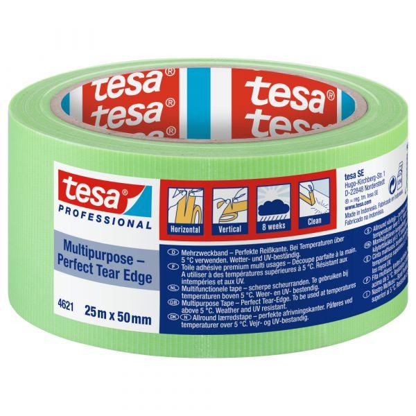 tesa® Allzweck Gewebeband Perfect Tear Edge 4621 – 50mm, Leucht-Hellgrün